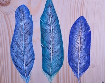 Turquoise feathers painting on wood
