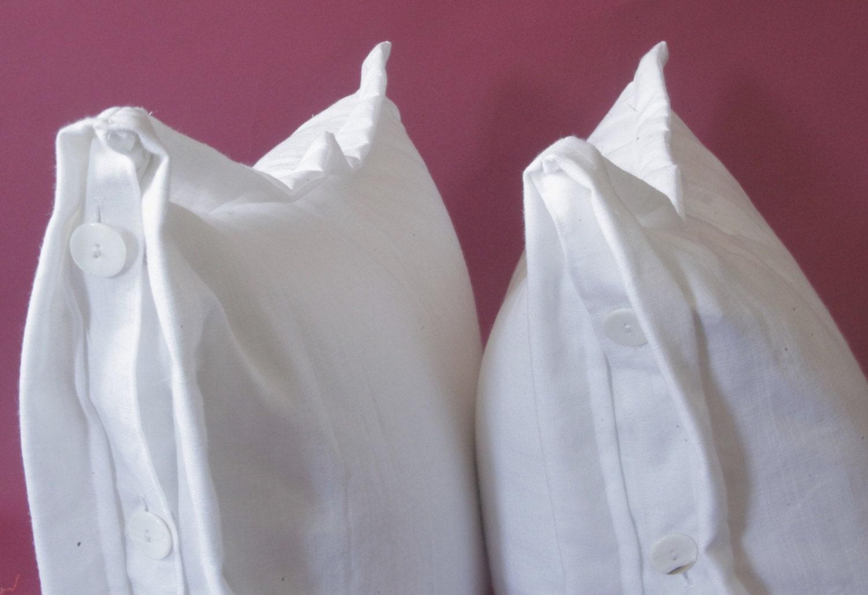 Throw Pillow Button Closure : Natural Linen Pillows. Basic Button Closure Euro