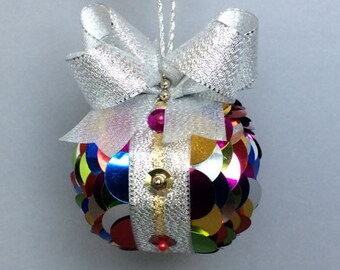Multi-Color Sequin Overlay Christmas Ornament