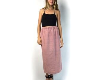 Pink Long Textured Weave Skirt