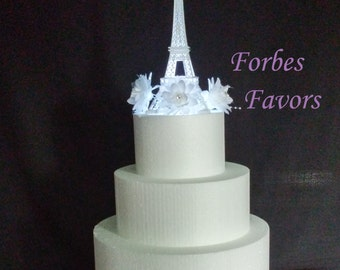 10 Inch White Metal Eiffel Tower Paris Theme Weding Cake Topper with LED Light