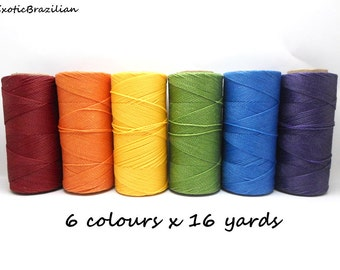 BULK Multi-Color: Waxed Polyester Cord 1mm /6 packs of 25ft / Hilo