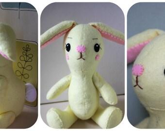 Bunny Sewing Pattern, Rabbit Plush, Rabbit Sewing Pattern, Rabbit Plush Pattern, Nursery Decor.