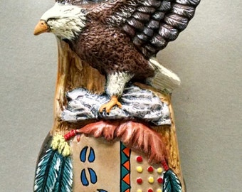 "SALE10"" Eagle Totem Pole--Native American Indian Figurine--Heirloom Quality--Hand-painted Ceramic--Home Decor--Native American Art"