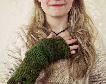 Boho Knit Slouchy Arm Warmers in Forest Colors