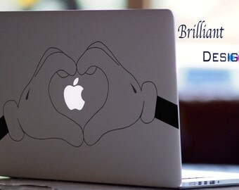 Mickey Mouse,Heart Hands,Deca,Macbook Pro, Macbook decals,sticker, Vinyl decals Apple Mac Decal, Laptop, Geekery, Gift, For Him, For Her