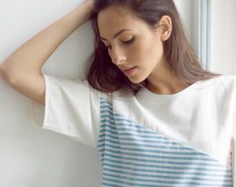 Organic Cotton and Stripe Linen/cotton T-shirt Dress