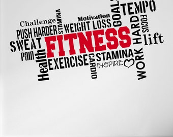 Pro Design FITNESS Wall Decal Word Cloud Quote 5 colour/2 size choices