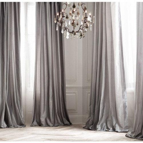 Window Platinum: PLATINUM SILK Curtain Dupioni Silk Grey Silver Window