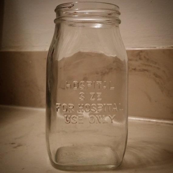 Vintage glass hospital use only jar bottle antique by for Uses for old glass bottles
