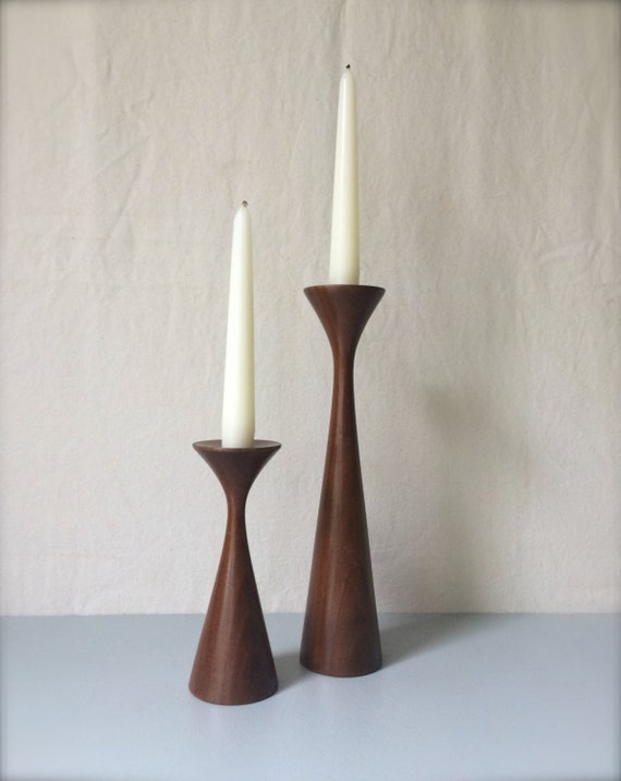 Retro modern wood candle holders solid wood by honeybeehillvintage - Unfinished wood candlestick holders ...
