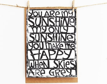 greeting card - you are my sunshine you make me happy - gift card - 106x145xmm