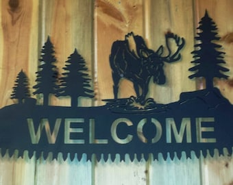 """Custom Moose Silhouette """"WELCOME"""" Cut Out on Cross Cut Saw Replica Complete with Handles Can Be Personalized"""