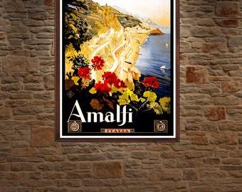Amalfi , Vintage Travel Poster