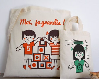 Bags cotton tote-bag + mini-sac, tote, illustration, vintage, retro, french style, made in france, red, black, green, child vudo ateliervudo