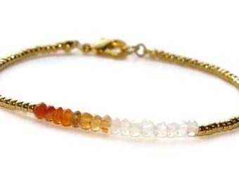 Carnelian Gemstone Bracelet, Orange Stone Bracelet, Gold Filled Beaded Bracelet