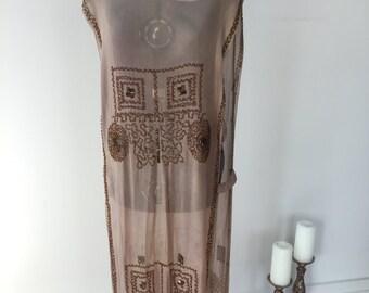 Gorgeous golden bronze 1920s beaded tabard dress