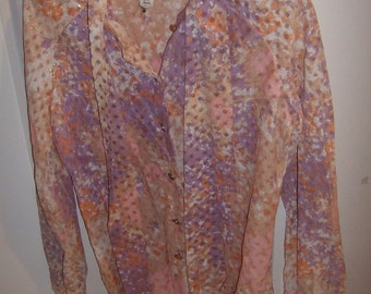 Vintage Lord & Taylor Pink/Purple/Metallic Body Suit w/Tie, Size M Medium/Large