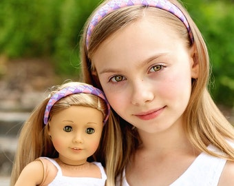 Dolly and Me Headbands, Pink and Purple Dolly and Me Woven Headbands, Matching Doll and Girl Headbands, American Girl Doll Headband