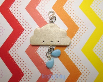 Kawaii Cloud and Rain Drops Polymer Clay Charm Miniature Jewelry