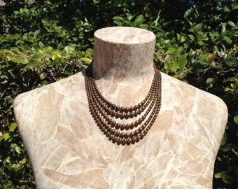 Distressed 5 Strand Metal Bead Vintage Necklace