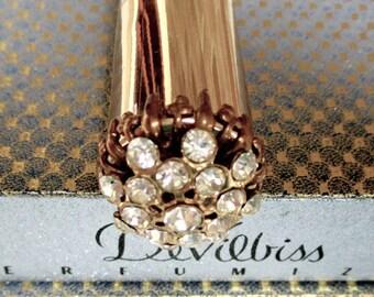 Vintage Devilbiss Metal Perfume Purse Atomizer Jeweled Top Original Box Perfumizer 1957