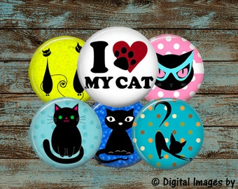 Button Images for 1.25 Inch Round Button Machine, 1.629 Inch Cut Line, Colorful Black Silhouette Cats Digital Image Collage Sheet, Pinbacks