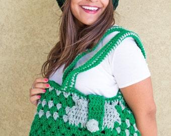 Green Woman's Handbag, Crochet  bag, Bags &Purses, Shoulder bag, Unique hand bag, One of  kind bag, Crochet knitting, Crochet bag