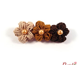 Anemone Trio Crochet flower Brooch chocolate/brown/fiber art jewelry/flower/Accessories/costume accessories/fashion accessories/gift for her