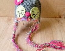 Baby Owl hat - Sleeping Owl Hat - Baby Hat - Crochet Hat - Pink owl hat - Multicolor baby Hat - Fuzzy Owl Hat - Girl Hat - Baby animal hat