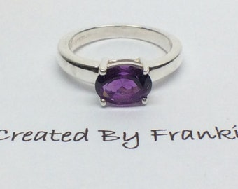 Sterling Silver Amethyst Ring with 8x6 mm oval  Size 6.50  # 2843 Created By Frankie