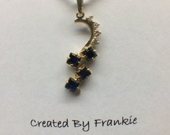 14K Yellow Gold Blue Sapphire and Diamond Free Form Pendant  Created By Frankie