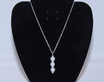 Triple White Glass Pearl And Rhinestone Necklace & Earring Set