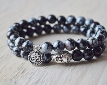 Detoxifying and purity, stackable bracelets, snowflake Obsidian mala beads, yoga jewelry, meditation bracelet, gifts for guys