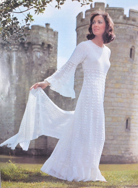 Instant download pdf crochet maxi dress pattern 1970s for Wedding dress patterns free download