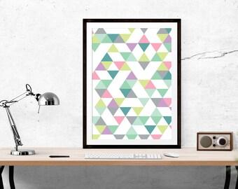 Triangle Print // Scandinavian print, ScandiDesign, Motivational Print, Inspirational Print, Scandinavian, Wall Art, Home Decor, Modern, Sca