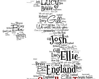 Personalised Word Art - Map of the UK Design - A4 Print or Digital File