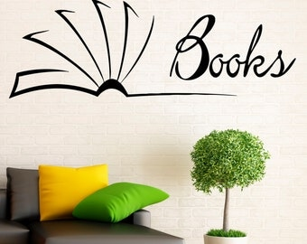 Wall Vinyl Decal Books Stickers Reading Room Library Interior Housewares Design Bedroom Home Decor (15bcs01)