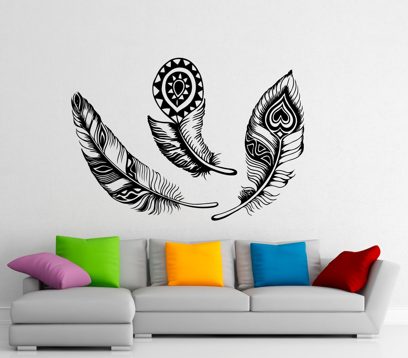 Wall Decor Bird Design : Feathers wall decal vinyl stickers bird plumage patterns home