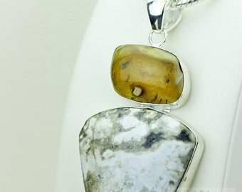 BALTIC Amber MADAGASCAR Ocean JASPER 925 Solid Sterling Silver Pendant + 4mm Snake Chain & Free Worldwide Shipping Mp442
