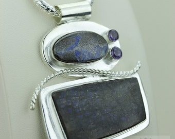 Boulder Opal GENUINE Canadian AMMOLITE 925 S0LID Sterling Silver Pendant + 4MM Snake Chain & FREE Worldwide Express Shipping A11