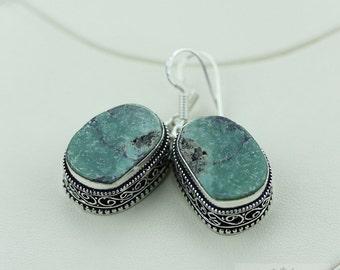 Genuine Tibetan Turquoise Vintage Filigree Setting 925 SOLID (Nickel Free) Sterling Silver Dangle Earrings e486