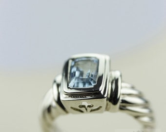 Size 5 SWISS BLUE TOPAZ (Nickel Free) 925 Fine Sterling Silver Ring & Free Worldwide Express Shipping
