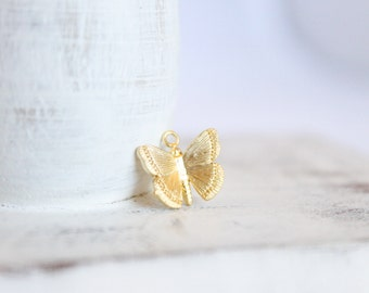1 Piece - Gold Butterfly Charm - 16k Matte Gold Plated Brass Charm - 12.4mm x 11mm - Butterfly Pendants - Unique Charms Cute Charms / GP-002