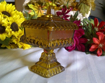 Jeannette Glass Wedding Box Candy Dish With Pedastal And Lid. Jeannette Glass 1950's. REDUCED ITEM: Was 17.00....Now...12.00