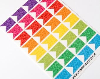 32 matte flag stickers, pattern stickers, banner bunting, planner stickers, scrapbook sticker, checklist sticker eclp filofax happy planner