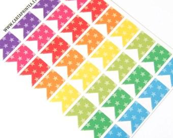 32 matte flag stickers, star stickers, banner bunting, planner stickers, reminder checklist sticker eclp filofax happy planner kikkik