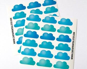 36 glossy cloud stickers, planner stickers, scrapbook sticker, reminder checklist sticker, cloud label eclp filofax happy planner kikkik