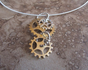 copper or brass gear necklace