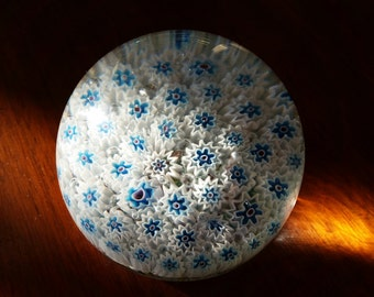 Paperweight - Glass - White and Blue Canes